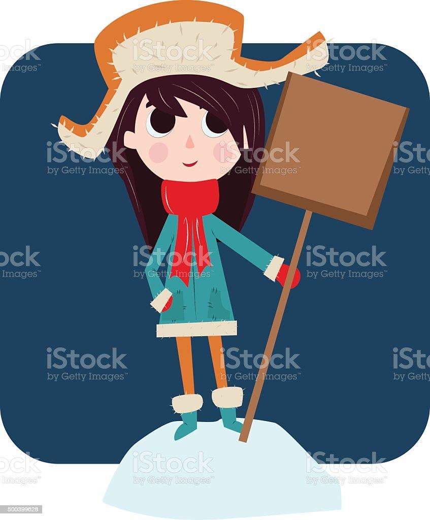 girl standing on a snowbank vector art illustration