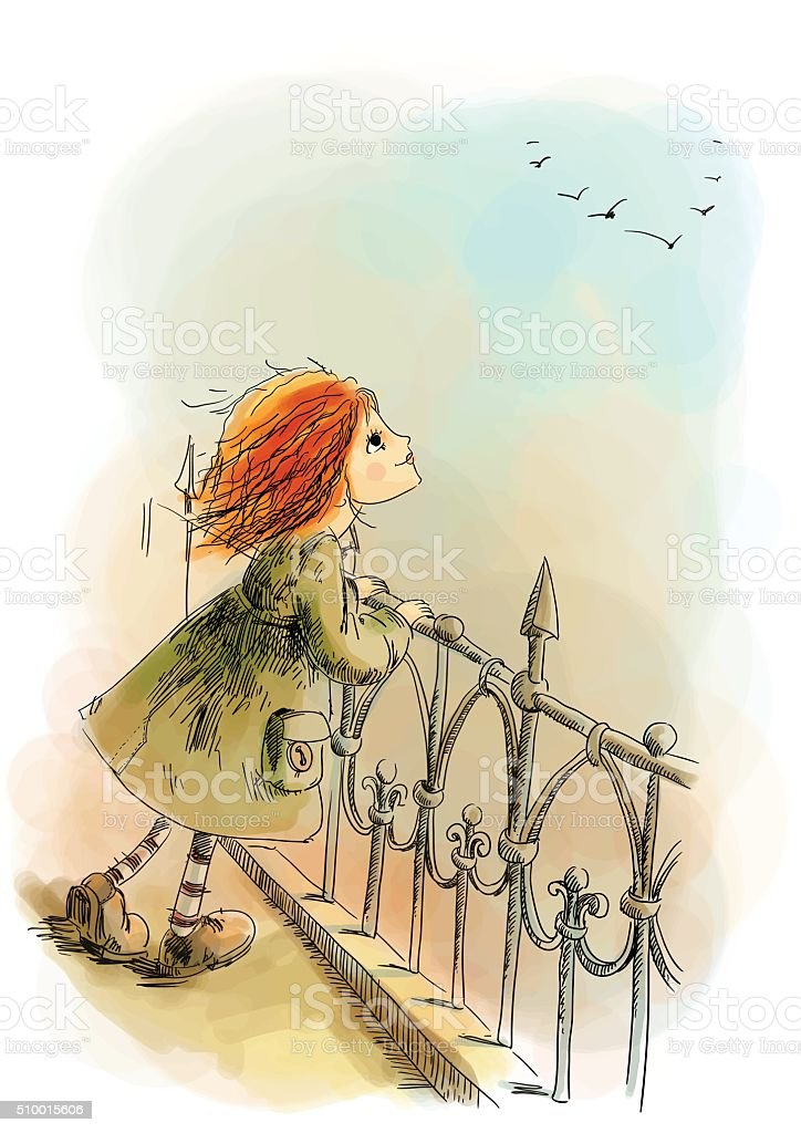 Girl standing on the bridge vector art illustration