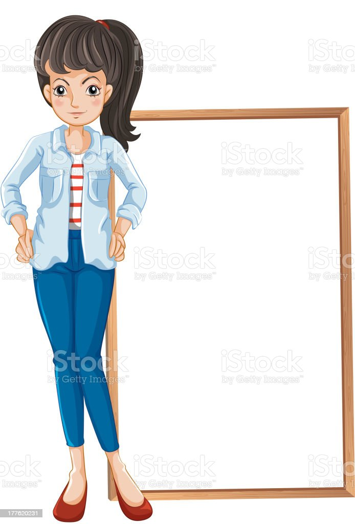 Girl standing with a blankboard at the back royalty-free stock vector art