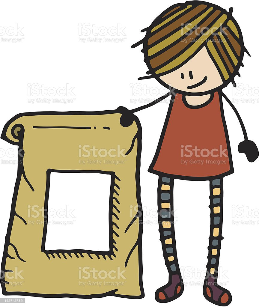 Girl stood next to a large sack royalty-free stock vector art