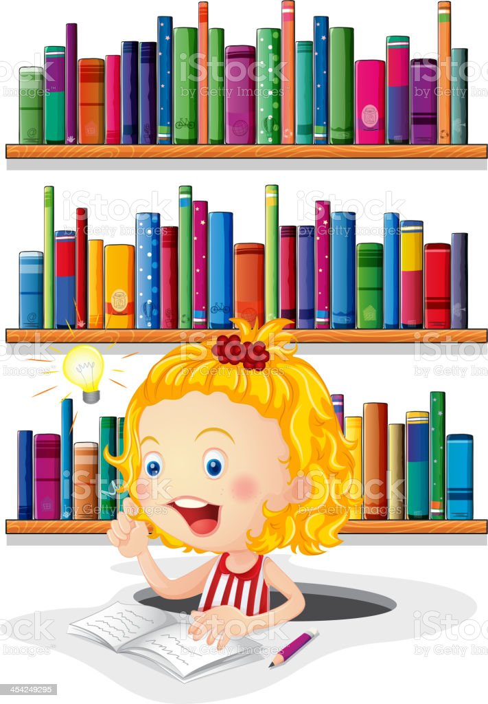 girl studying in front of the bookshelves royalty-free stock vector art