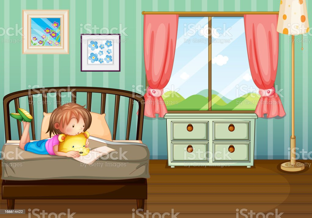 Girl studying in her room royalty-free stock vector art