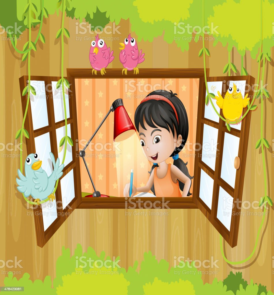 Girl studying near the window royalty-free stock vector art