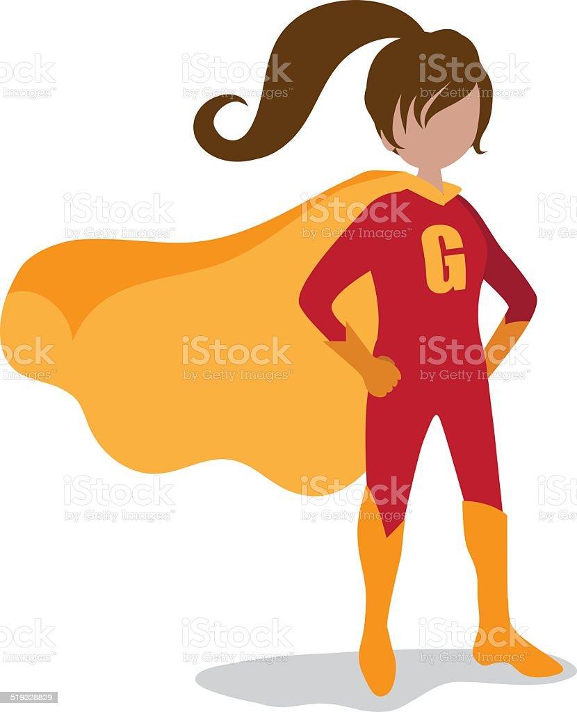 Girl super hero isolated vector art illustration