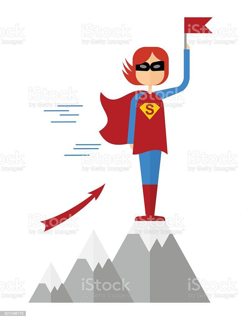 girl superman won on montain vector art illustration