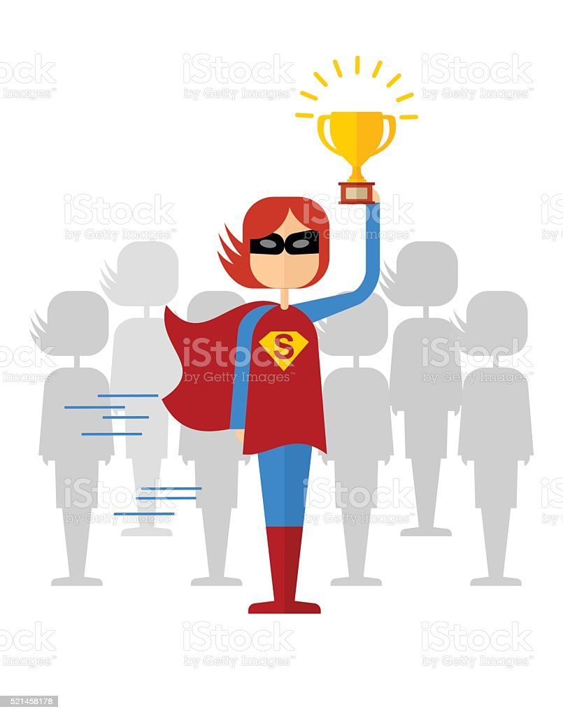 girl superman won with cup vector art illustration
