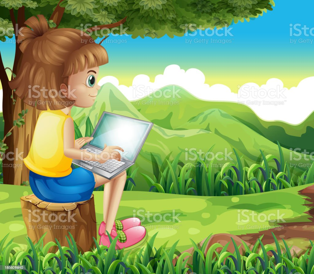 girl surfing  net at the forest royalty-free stock vector art