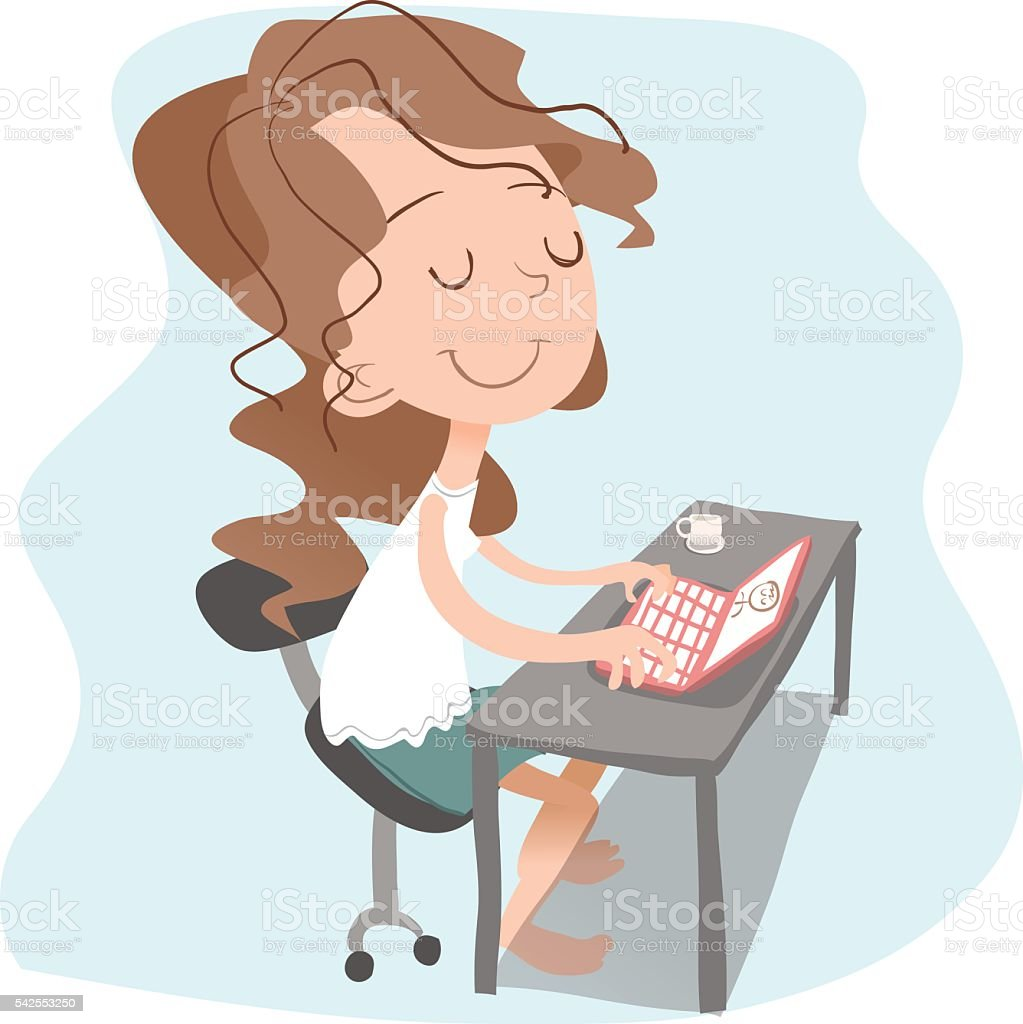 girl surfing the internet. vector art illustration