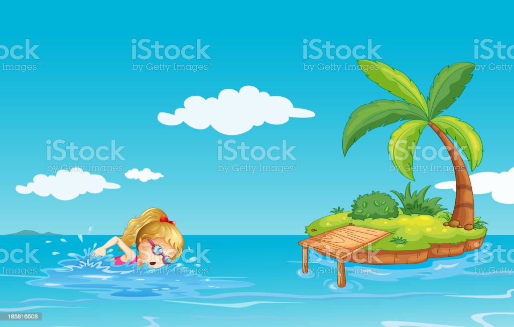 girl swimming near an island with a coconut tree royalty-free stock vector art