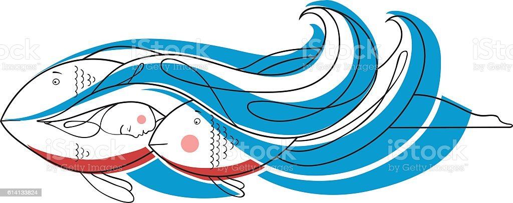 girl swims vector art illustration