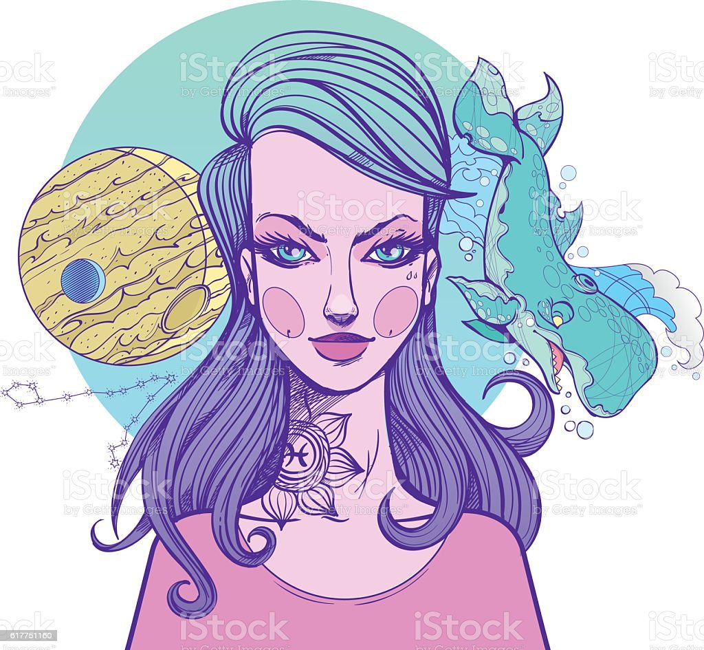 Girl symbolizes the zodiac sign Pisces. Pastel goth portrait. vector art illustration