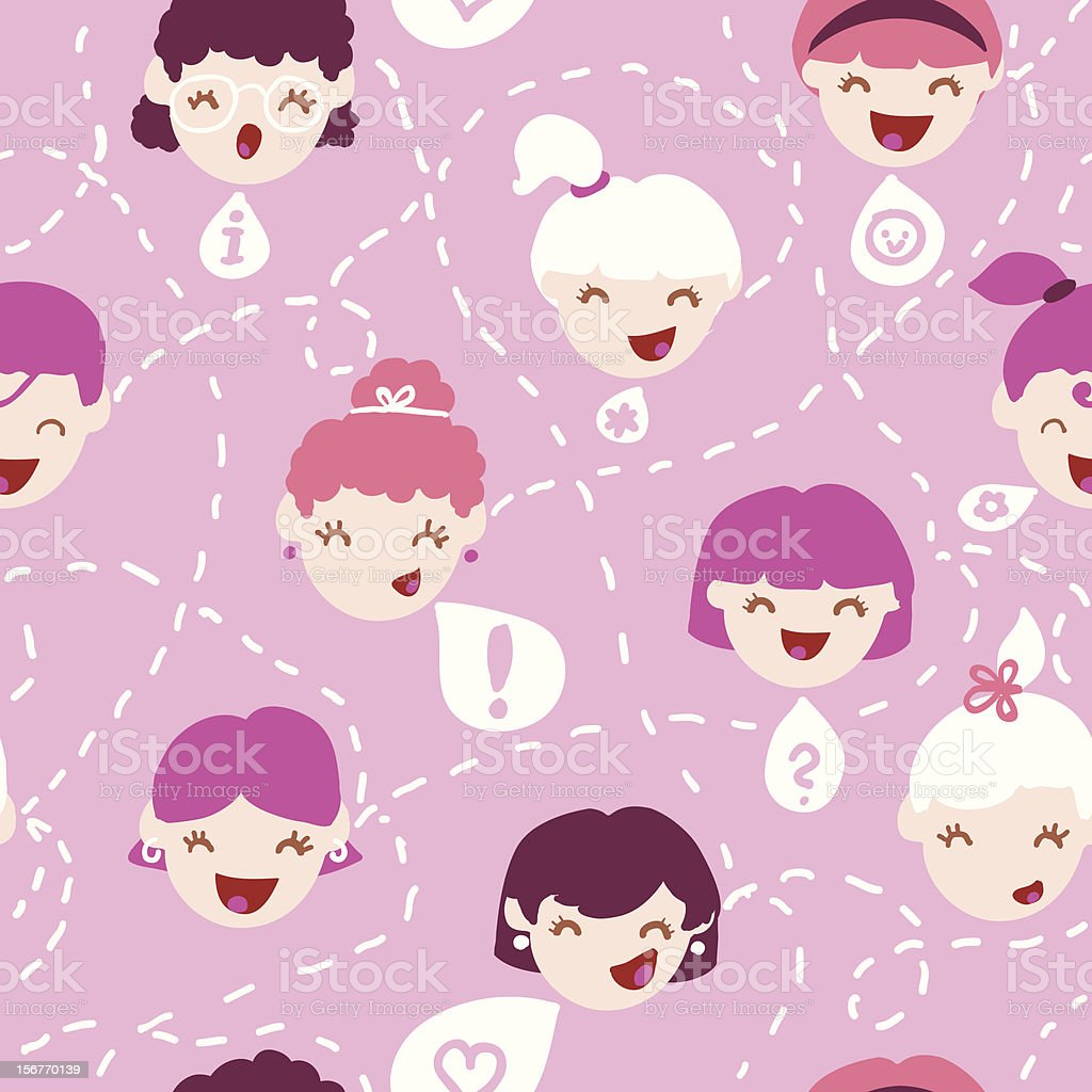 Girl talk seamless pattern vector art illustration