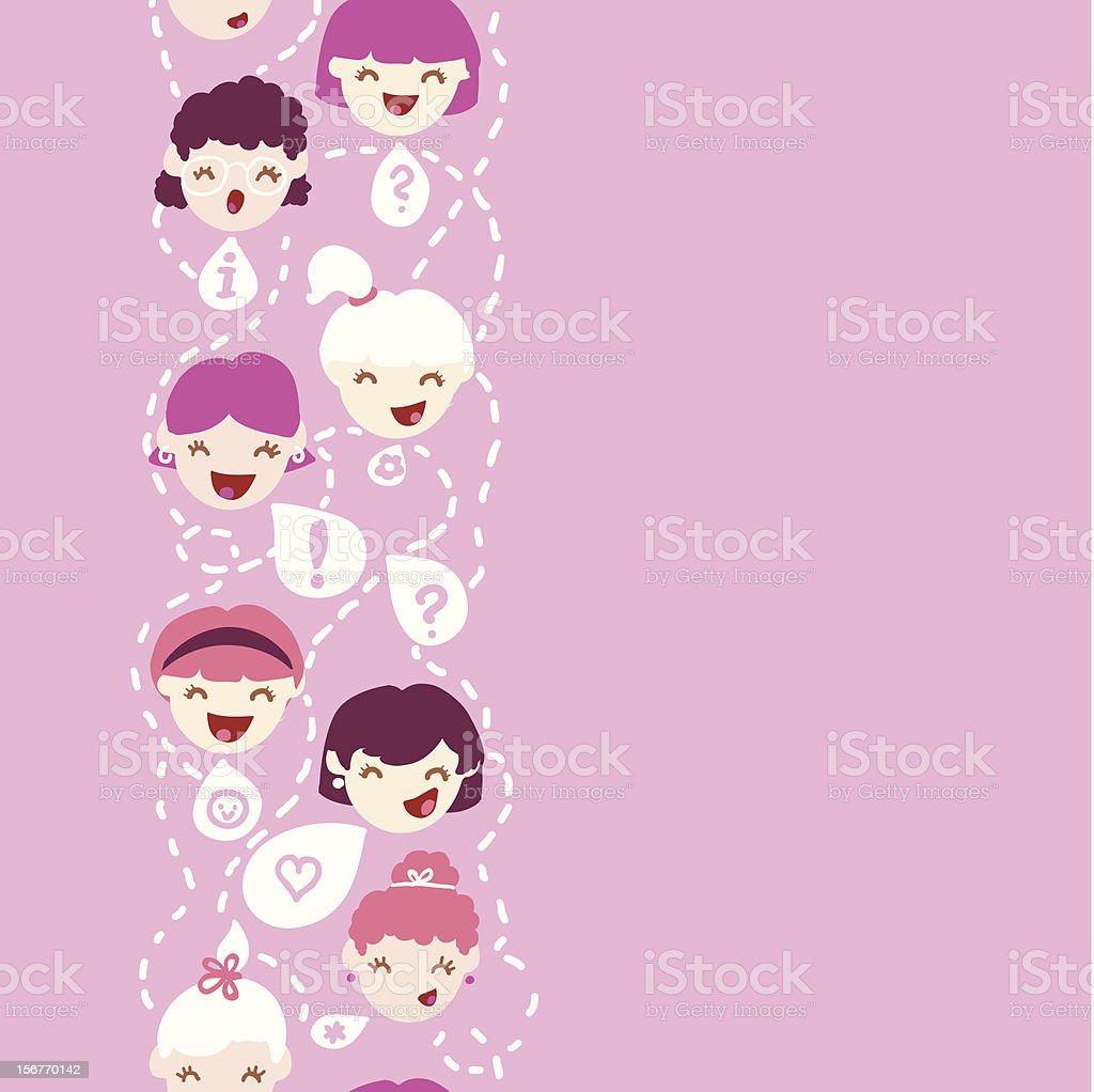 Girl talk vertical seamless pattern vector art illustration