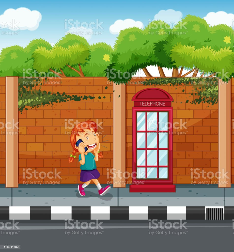 Girl talking on phone on the street vector art illustration