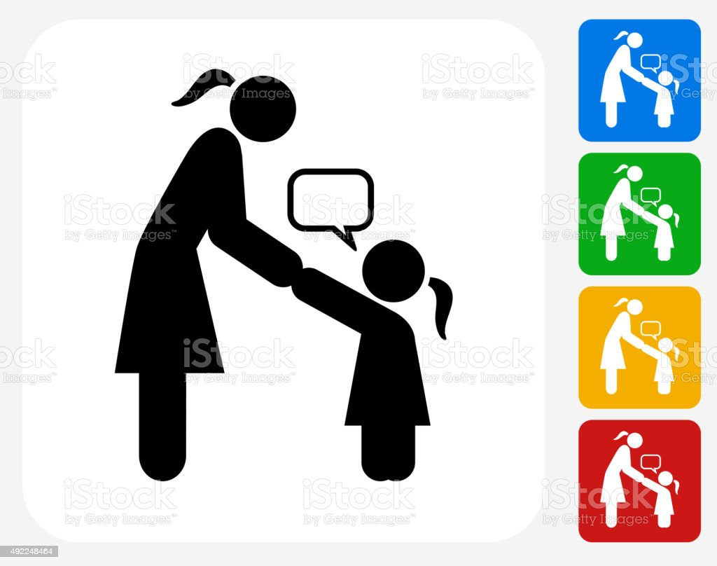Girl Talking to Mom Icon Flat Graphic Design vector art illustration