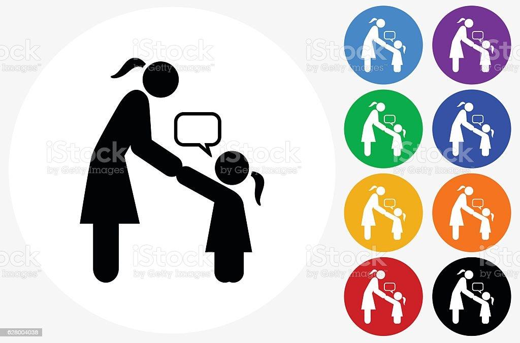 Girl Talking to Mom Icon on Flat Color Circle Buttons vector art illustration