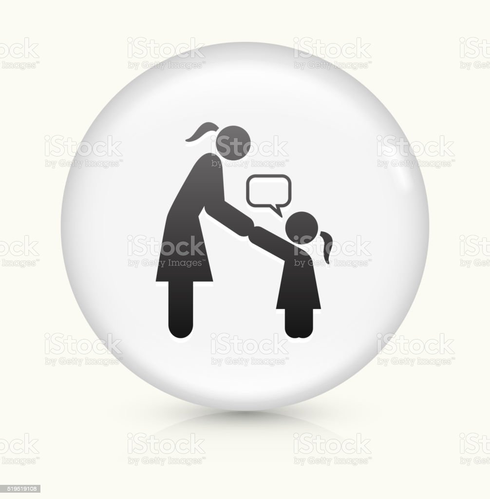 Girl Talking to Mom icon on white round vector button vector art illustration