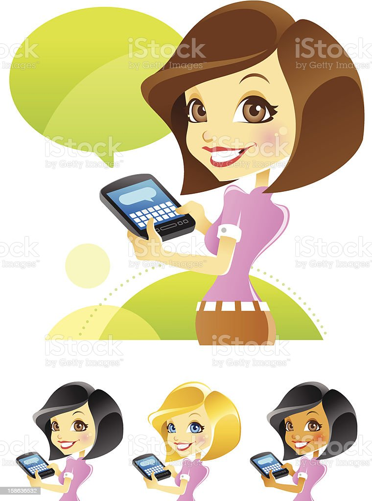 Girl Texting, Blogging, Typing on Smartphone vector art illustration