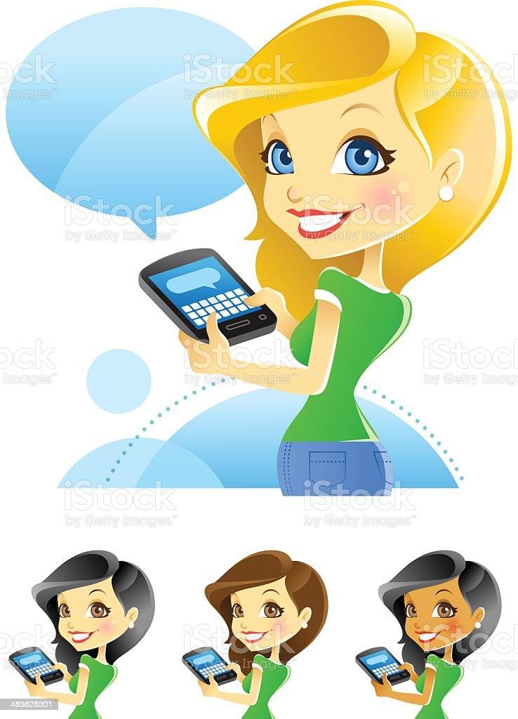 Girl Texting, Blogging, Typing on Smartphone vector art illustration