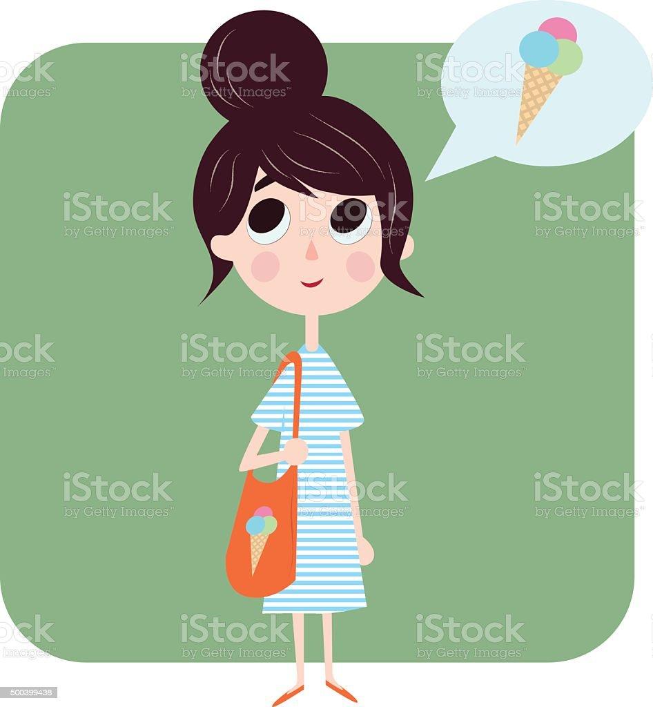 Girl thinking about ice cream vector art illustration