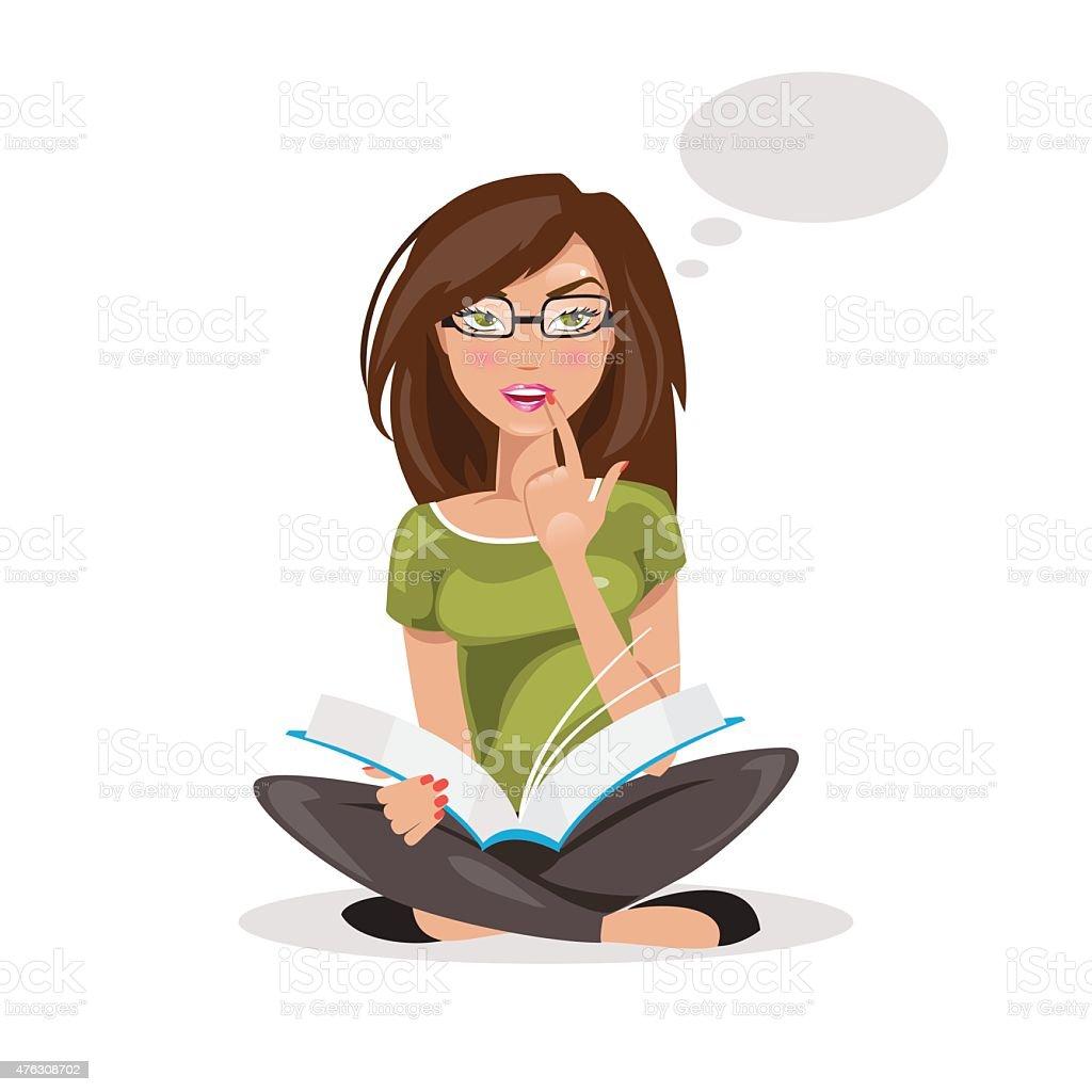 Girl thinking. vector Illustration vector art illustration