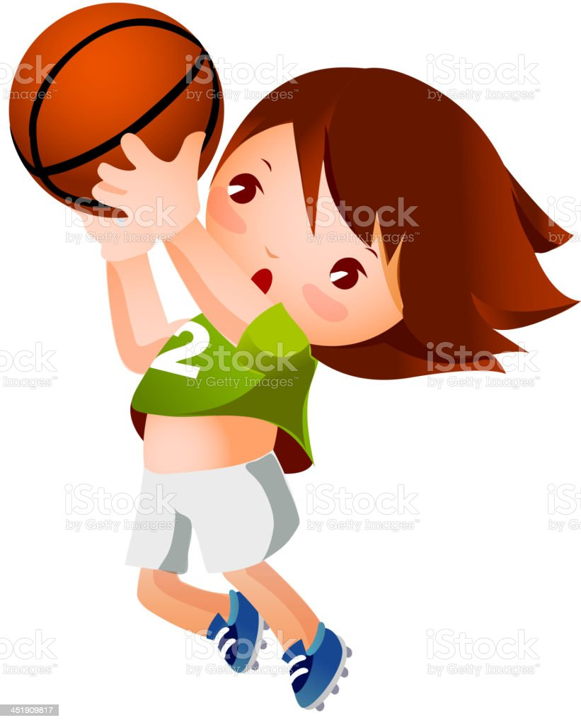 Girl throwing basketball royalty-free stock vector art