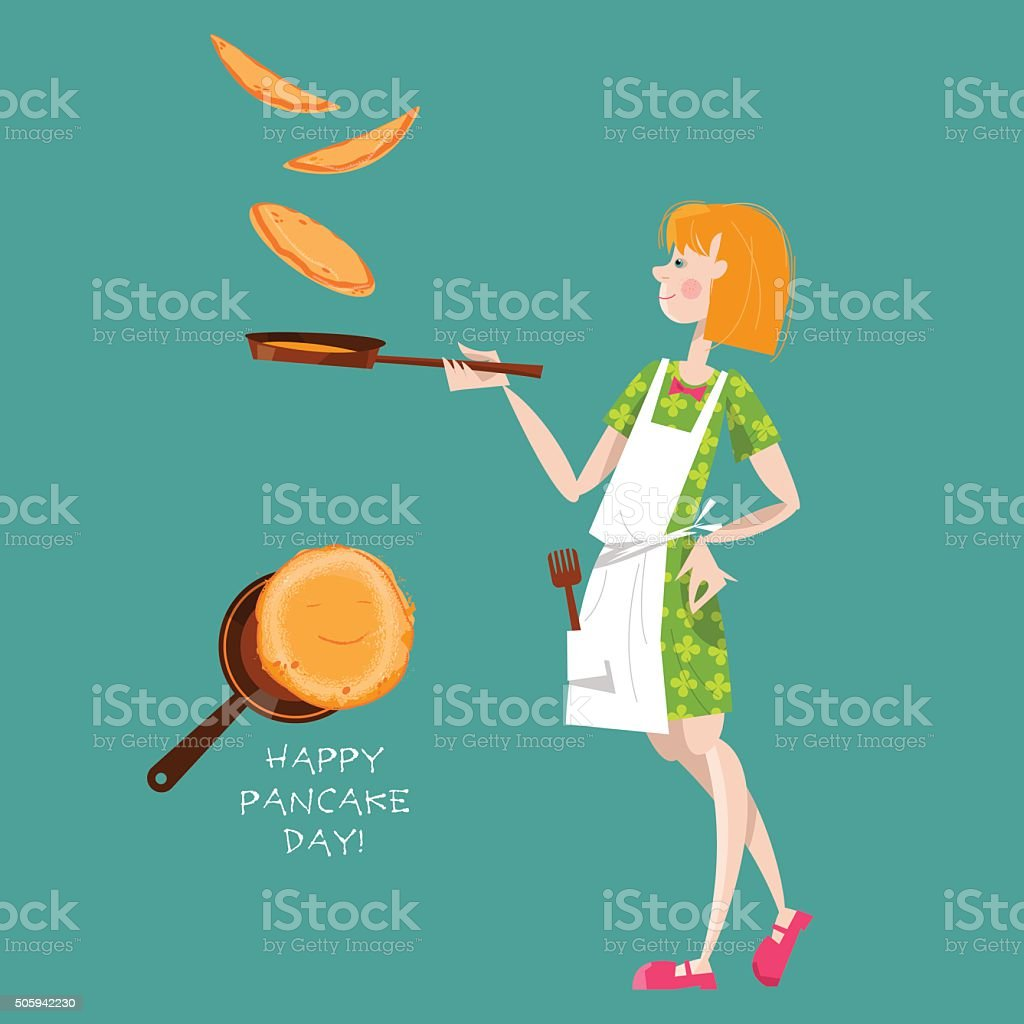 Girl tosses pancakes on a frying pan. Happy Pancake Day! vector art illustration