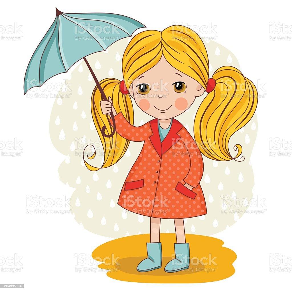girl under an umbrella vector art illustration
