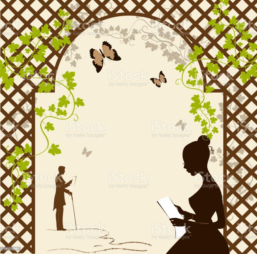 Girl under the romantic arbor vector art illustration