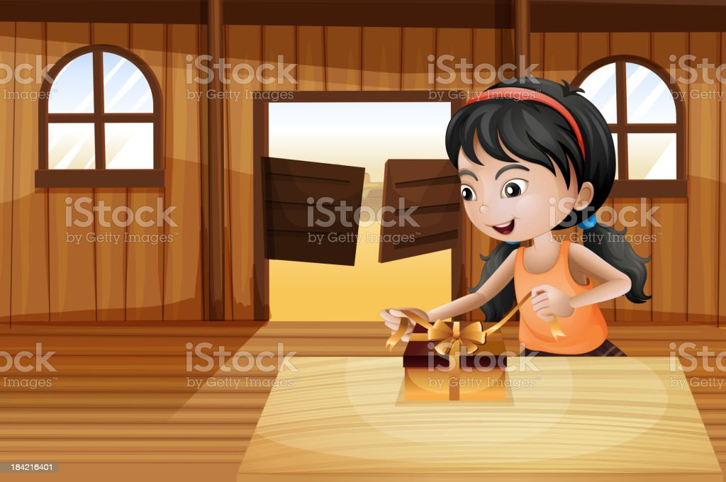 girl unwrapping a gift above table in the saloon bar vector art illustration