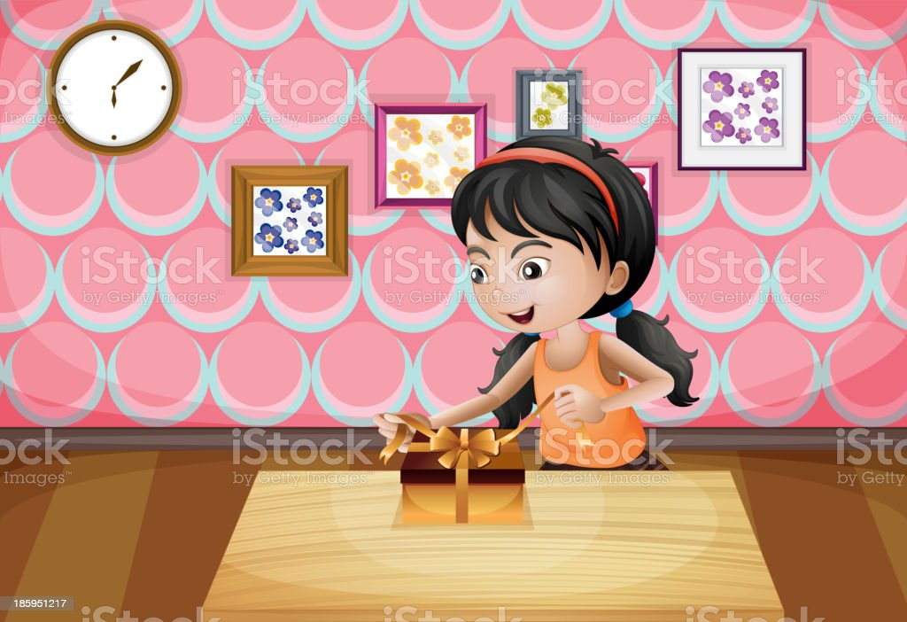 girl unwrapping her present royalty-free stock vector art