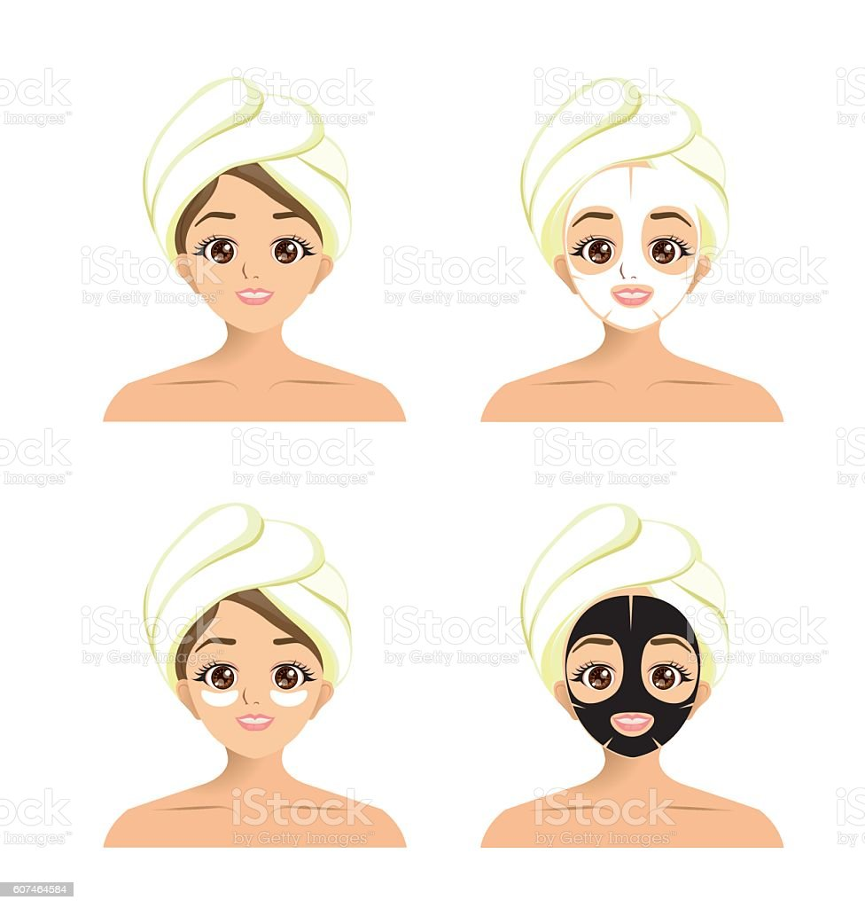 Girl using facial sheet mask and eye mask vector art illustration