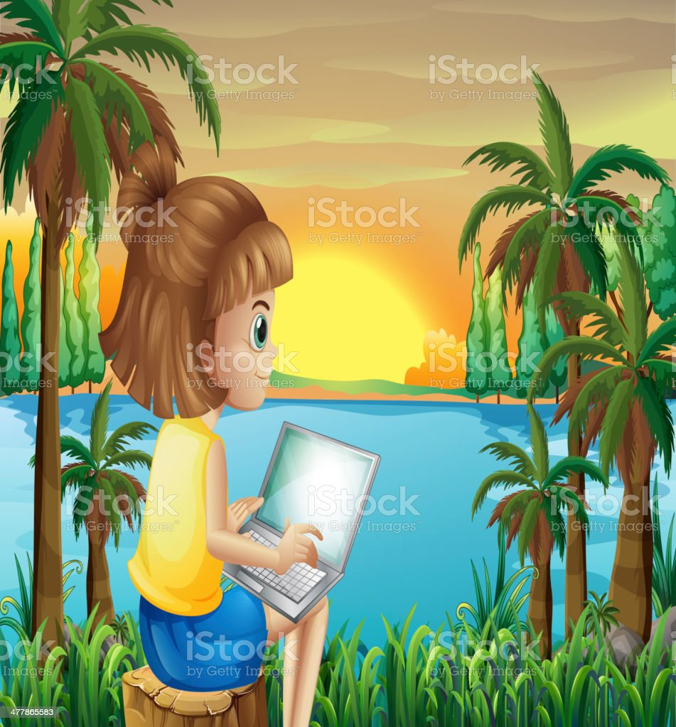 Girl using her laptop near the river royalty-free stock vector art