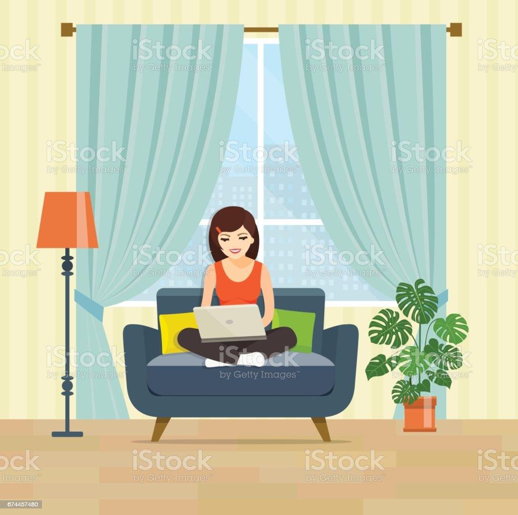 Girl Using Laptop At Living Room Vector Flat Illustration Royalty Free Stock Art