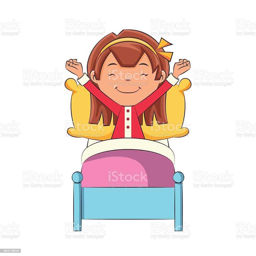 Girl waking up vector art illustration