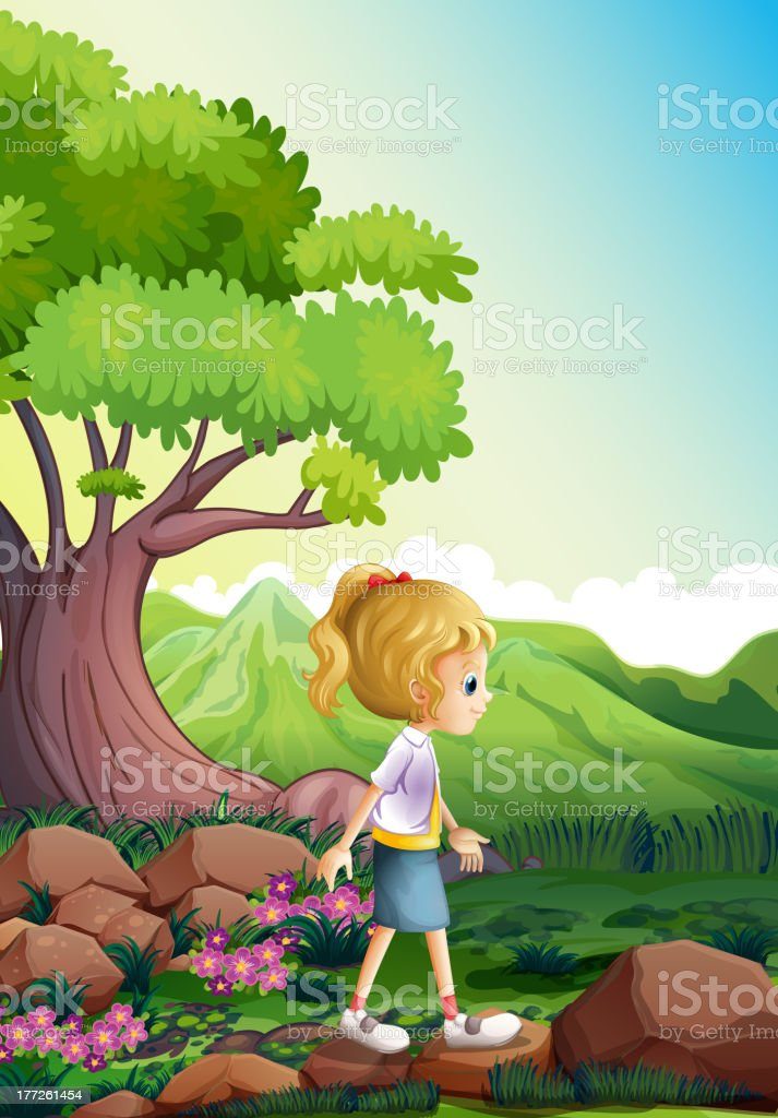 Girl walking above the rocks in forest royalty-free stock vector art