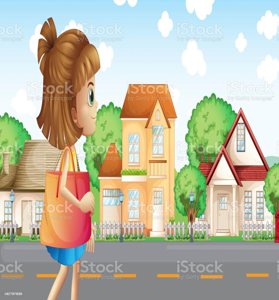 Girl walking across the neighborhood royalty-free stock vector art