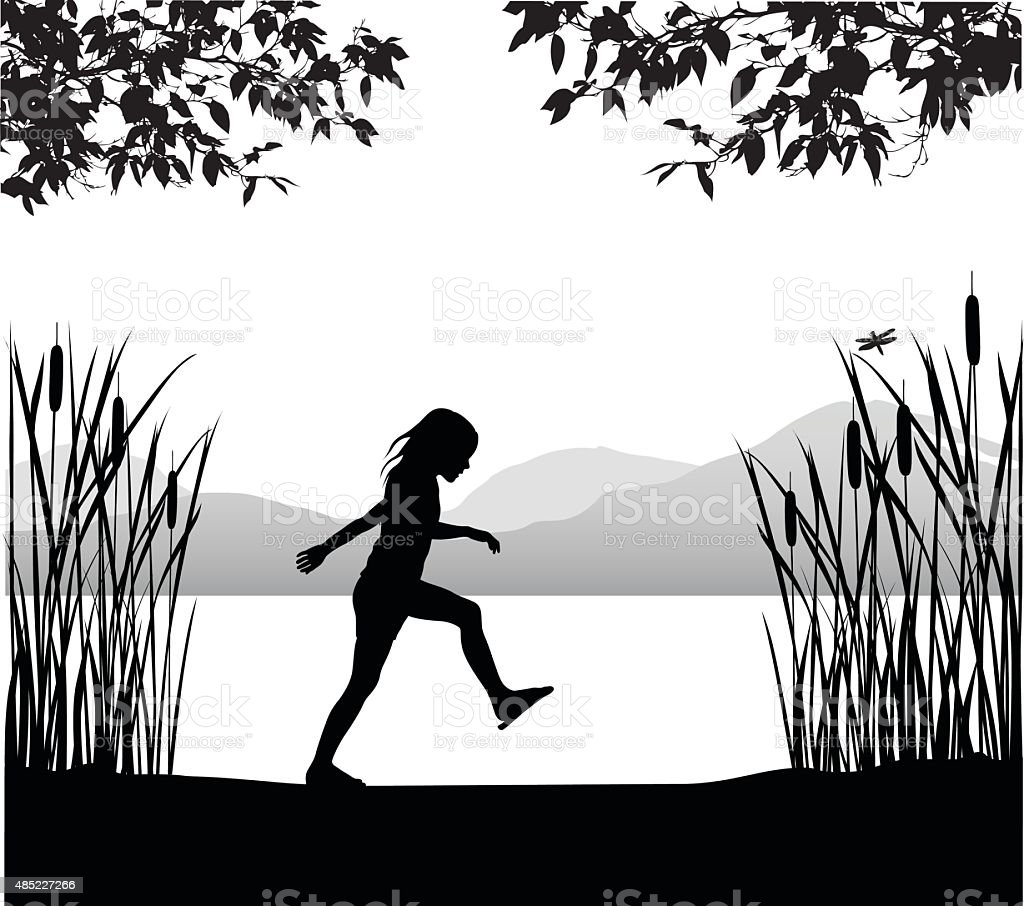 Girl Walking By The Pond vector art illustration