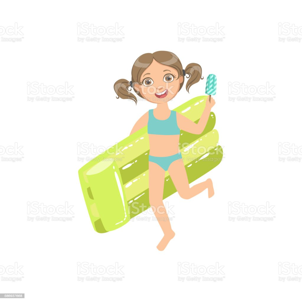 Girl Walking Holding Air Bed And Ice-cream On A vector art illustration