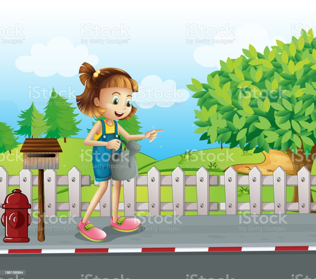 girl walking in the street with a sprinkler royalty-free stock vector art