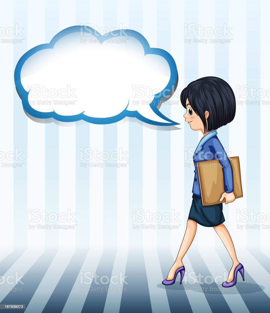 girl walking with an empty callout royalty-free stock vector art