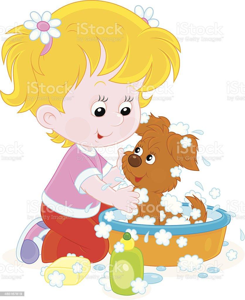 Girl washing a puppy vector art illustration