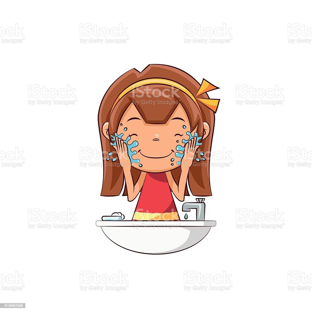 Girl washing face vector art illustration
