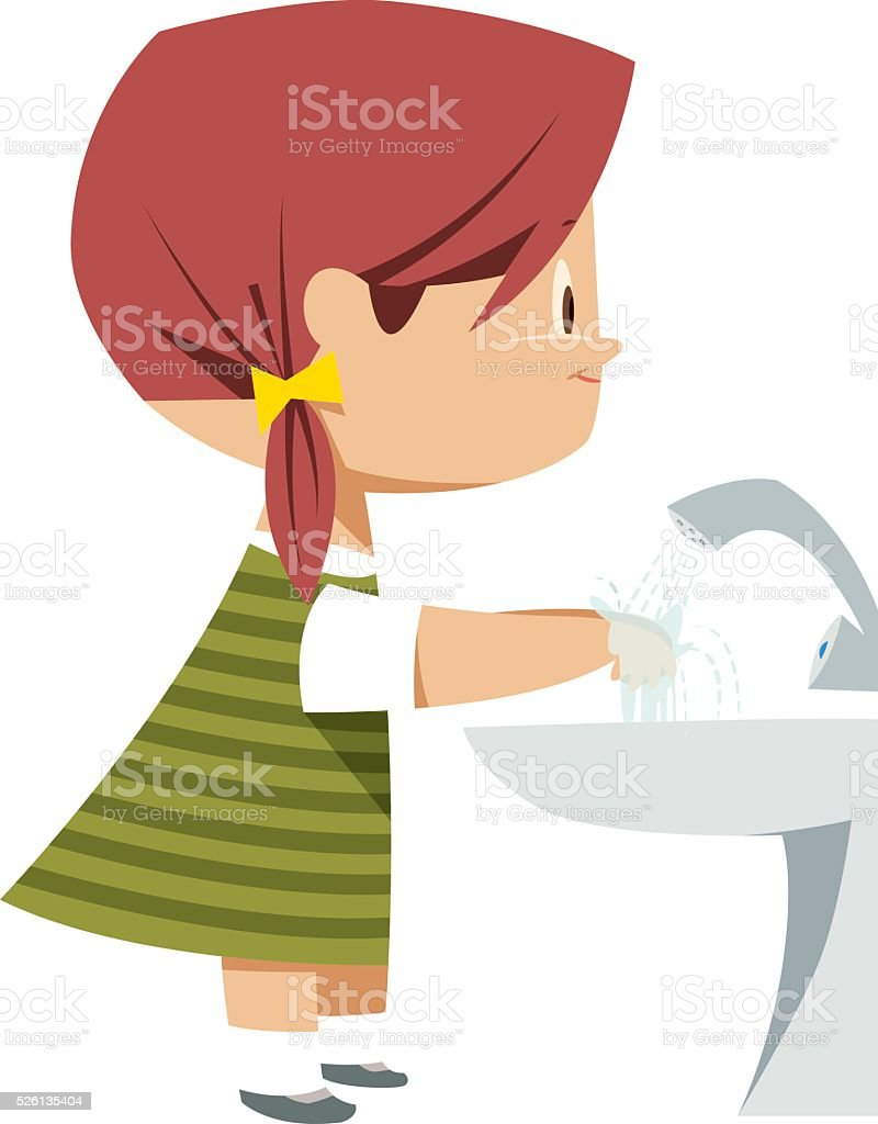 Girl washing hands vector art illustration
