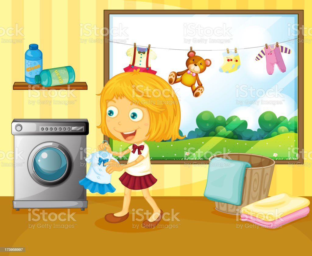 girl washing her clothes royalty-free stock vector art