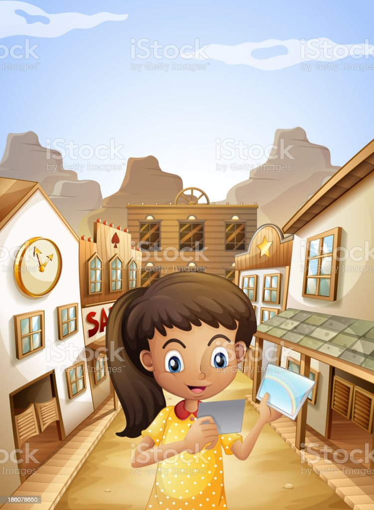 girl watching  pictures while standing near  saloon bars vector art illustration