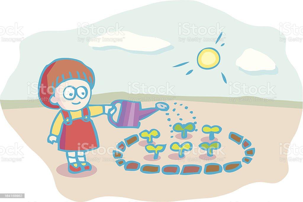 girl watering green royalty-free stock vector art