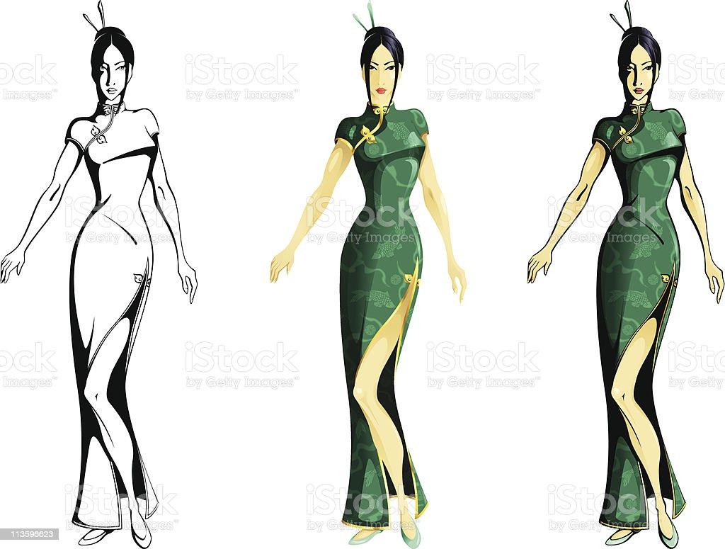 Girl wearing cheongsam royalty-free stock vector art