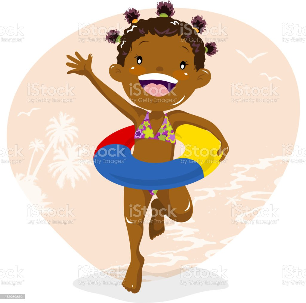 Girl wearing inner tube at beach vector art illustration