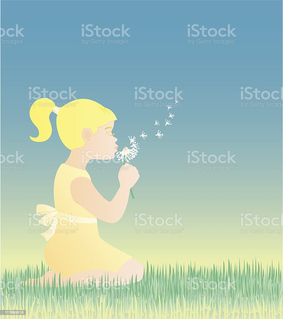 Girl wishing and blowing a dandelion royalty-free stock vector art